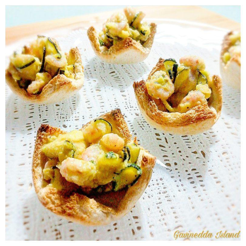Cestini gamberi, avocado e zucchine